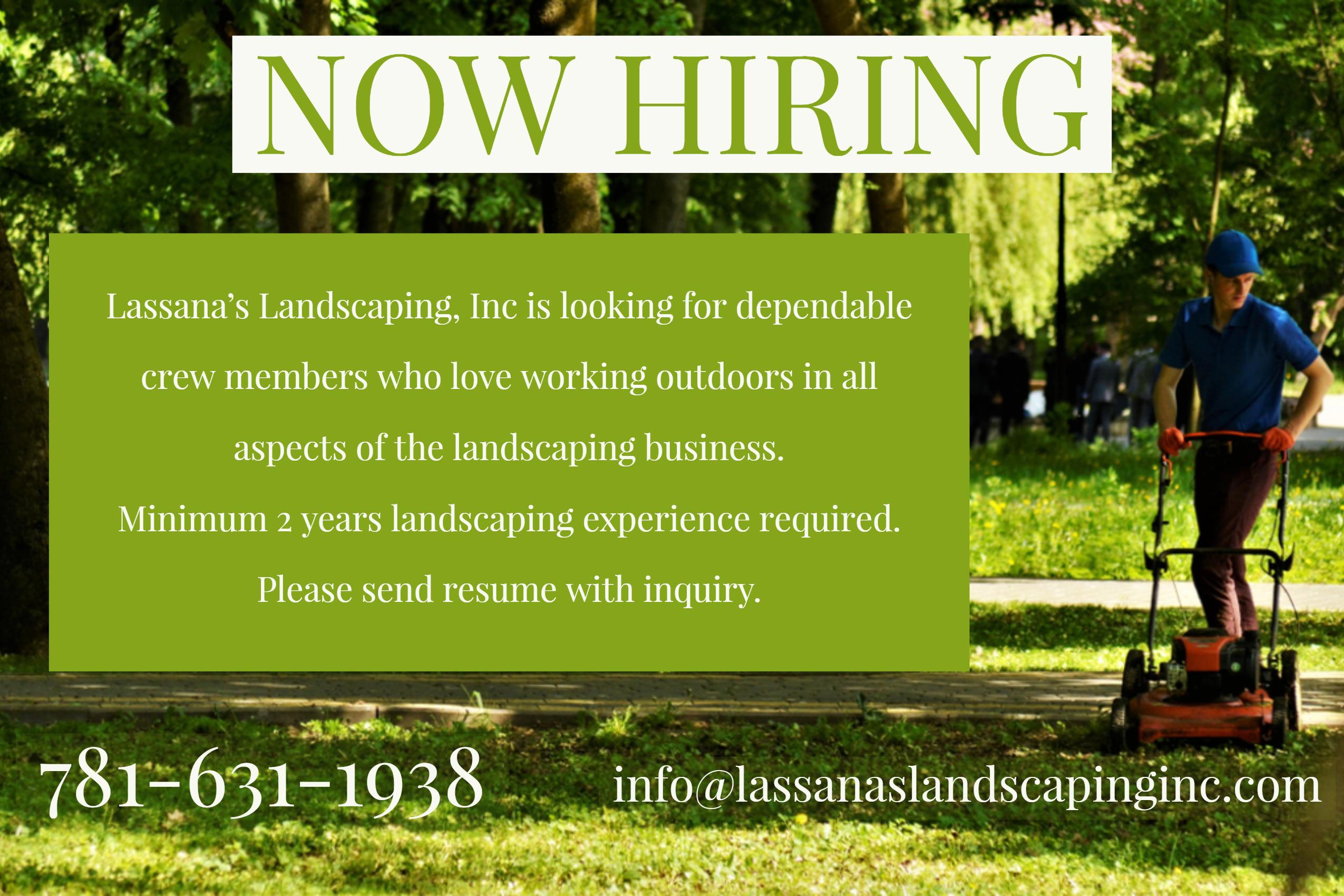 lassanas landscaping is hiring